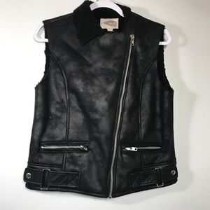 FOREVER 21 • Faux Leather Sherpa Vest | XS